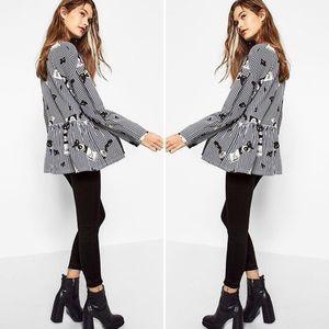 NWT Zara Paint Artist Striped Peplum Blouse